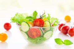 Tomate- und Gurkesalat stockbild