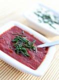 Tomate- und Knoblauchsoßen Stockfotos