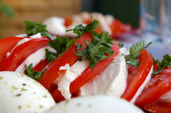 Tomate und Mozzarella Stockfotos
