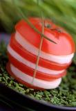 Tomate und Mozzarella Stockfotografie