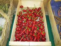 Tomate und roter Pfeffer in einer Holzkiste Lizenzfreie Stockfotografie