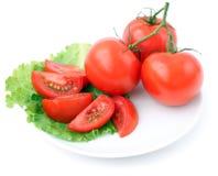 Tomate und Salat stockfotos
