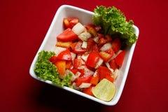 Tomate-und Zwiebelen-Salat Stockbilder