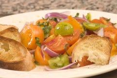 Tomate- und Zwiebelensalat Stockfotografie