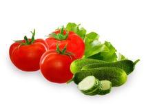Tomate, vegetal do pepino e salada da alface no fundo branco Imagens de Stock Royalty Free