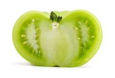 Tomate verde de la rebanada Imagenes de archivo