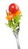 Tomate y ensalada rojos en una fork Imágenes de archivo libres de regalías