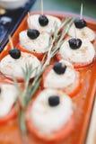 Tomate y Mozarella de la comida Imagenes de archivo
