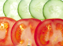 Tomate y pepino Foto de archivo libre de regalías