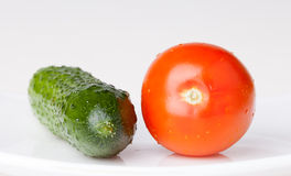 Tomate y pepino Fotos de archivo