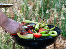 Tomate y pescados de las pimientas que asan a la parrilla en el Bbq Foto de archivo