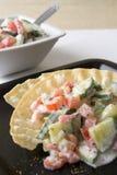 Tomategurke-Joghurtsalat stockfoto
