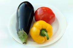 Tomaten, Aubergine, Basilikum und Pfeffer rollen Lizenzfreie Stockfotografie
