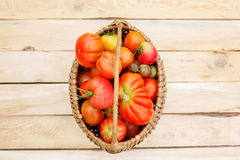 Tomaten auf der hölzernen Tabelle Stockbilder