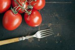 Tomaten auf dunklem Hintergrund Lizenzfreies Stockbild