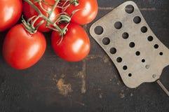 Tomaten auf dunklem Hintergrund Lizenzfreies Stockfoto