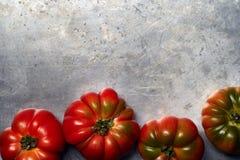 Tomaten auf einem Metallhintergrund stockfoto