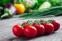 Tomaten auf einer Niederlassung und einem Gemüse Lizenzfreie Stockbilder