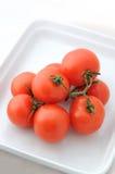 Tomaten auf einer Platte Lizenzfreie Stockfotos