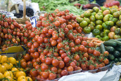 Tomaten auf Landwirtmarkt Stockfotografie