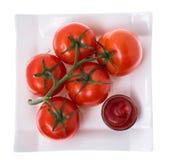 Tomaten auf Niederlassung in der Platte auf weißem Hintergrund Stockfoto