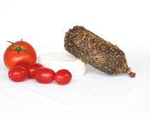 De kaas en de tomaten van de salami Stock Afbeelding