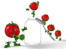 Tomaten die aan de kruik springen. Stock Foto's