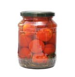 Tomaten die in glaskruiken worden ingeblikt Stock Afbeelding