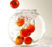 Tomaten die in water vallen Royalty-vrije Stock Foto's