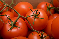 Tomaten in doos Stock Foto