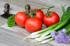Tomaten en de Uien van de Lente royalty-vrije stock afbeeldingen