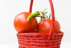 Tomaten en groene groene paprika Royalty-vrije Stock Afbeelding
