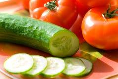 Tomaten en Komkommer Royalty-vrije Stock Fotografie