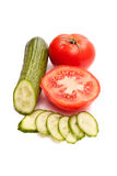 Tomaten en komkommers Stock Fotografie