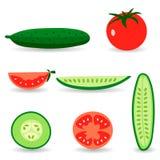 Tomaten en komkommers Stock Afbeelding