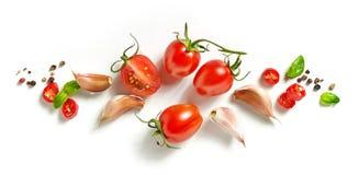 Tomaten en kruiden stock fotografie