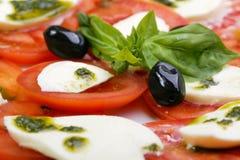 tomaten en mozarella Stock Afbeelding