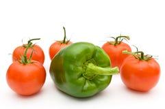 Tomaten en paprika. Stock Afbeeldingen