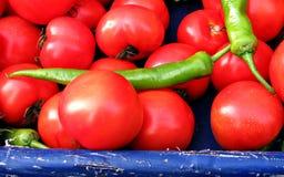 Tomaten en peper in Istanboel Stock Afbeeldingen