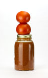 Tomaten en tomatensaus op wit Stock Fotografie