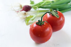 Tomaten en uien Royalty-vrije Stock Foto