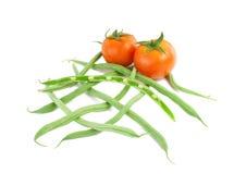 Tomaten en verse slabonen. Royalty-vrije Stock Foto's
