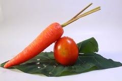 Tomaten en wortelen stock afbeelding