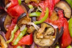 Tomaten, groene paprika en gebraden aubergine Stock Afbeelding