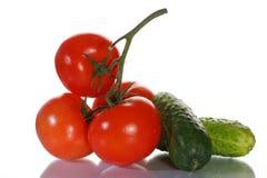 Tomaten, Gurken und Grüns stockfotografie