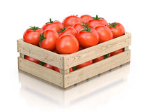 Tomaten in houten krat Stock Fotografie