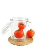 Tomaten im Glas Stockbild