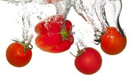 Tomaten im Wasserspritzen Lizenzfreies Stockbild
