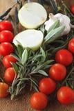 Tomaten, knoflook en oignon Royalty-vrije Stock Foto's