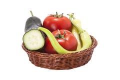 Tomaten, komkommer en groene paprika's Stock Foto's